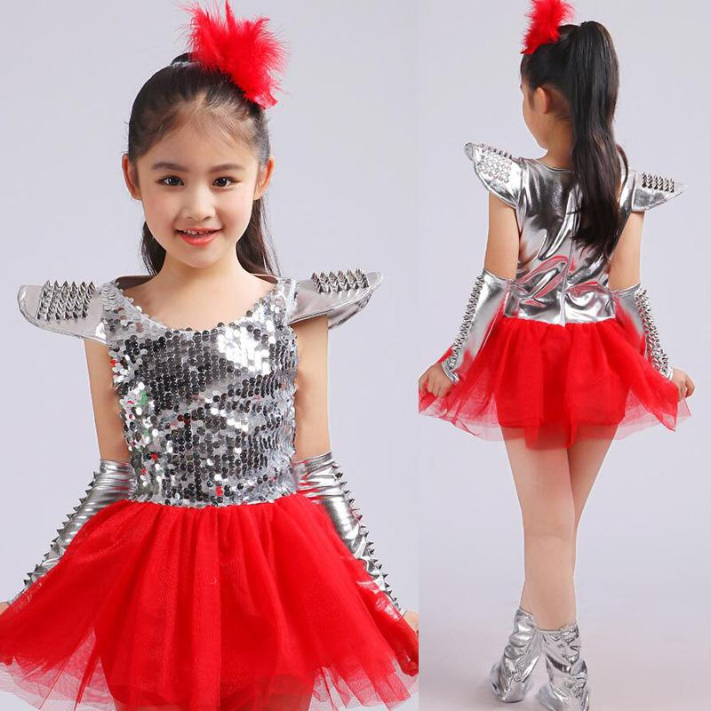 2020 Children Jazz Dance Costumes Fancy Dress Girls Sequined ...