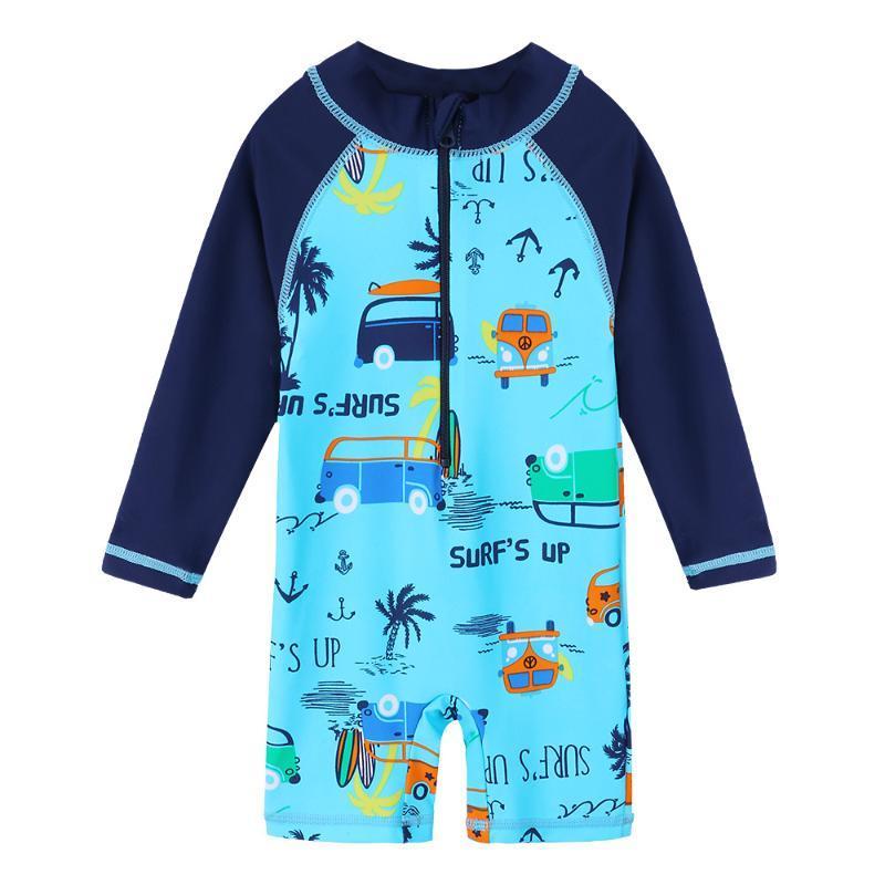 Baohulu 2020 Bebek Küçük Erkek Bebek Sevimli Mayo Swim Wear Lacivert Araç Karikatür Yaz SPF30 + UPF50 + Yeni Etiket Çocuk