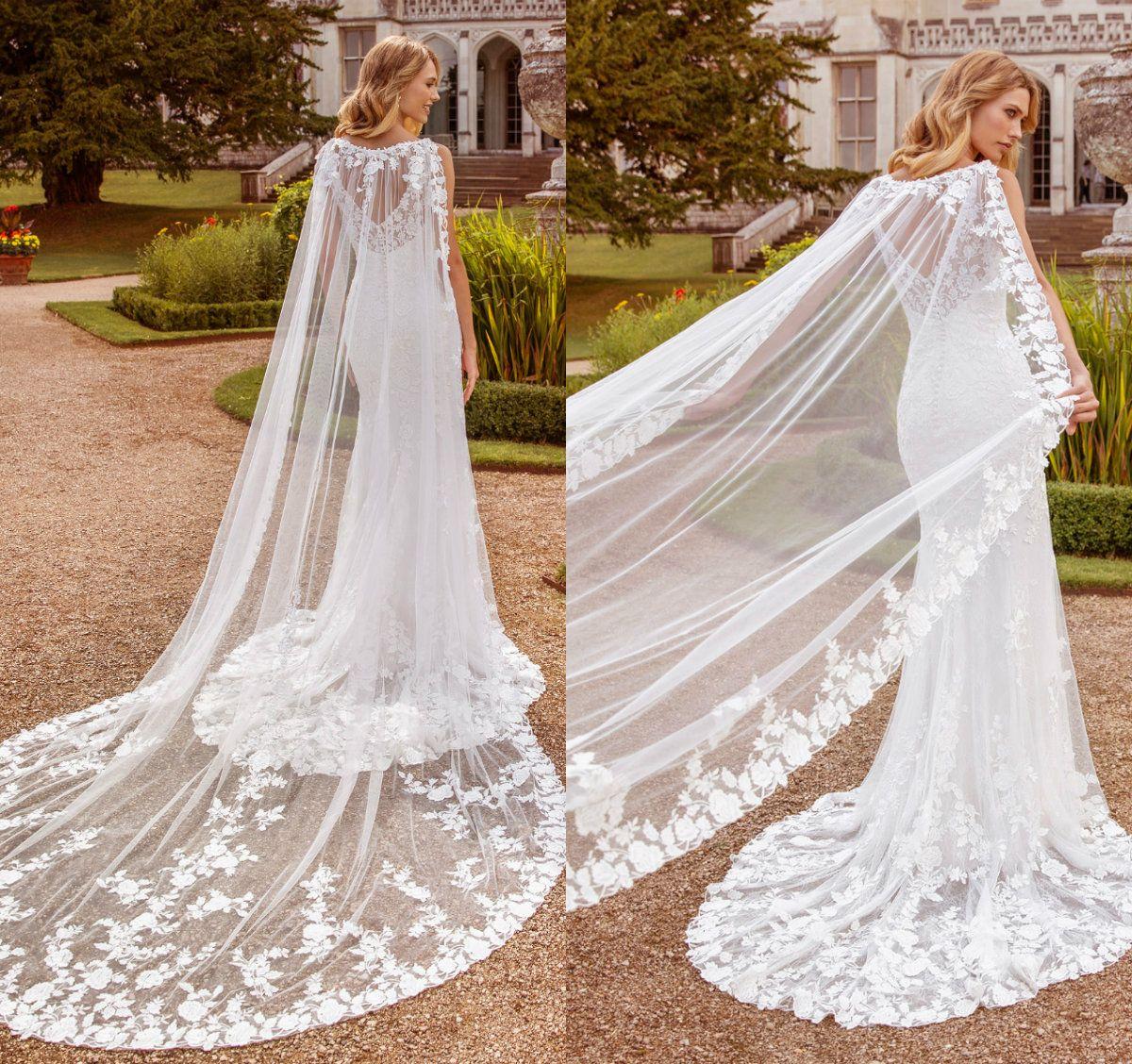 2020 Şık Düğün Wrap Dantel Aplikler Bohemian gelinlik için Düğün Şal Custom Made Ucuz Gelin Ceketler