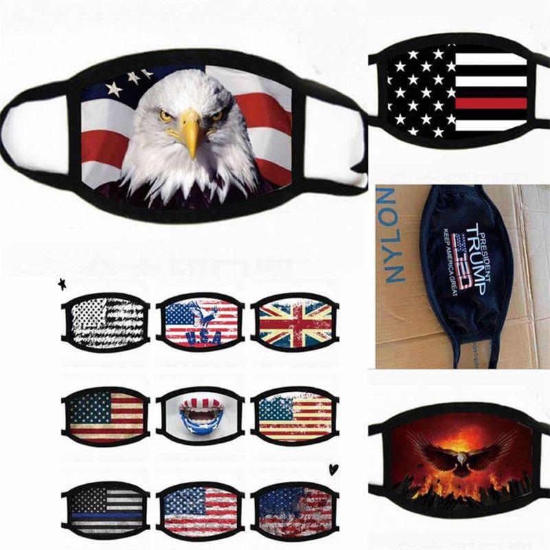 Fashion Face Mask USA America Flag Eagle Trump Print Masks Washable Cotton Dust-proof Face Mask Women Men Protective Masks 15 Colors 2020