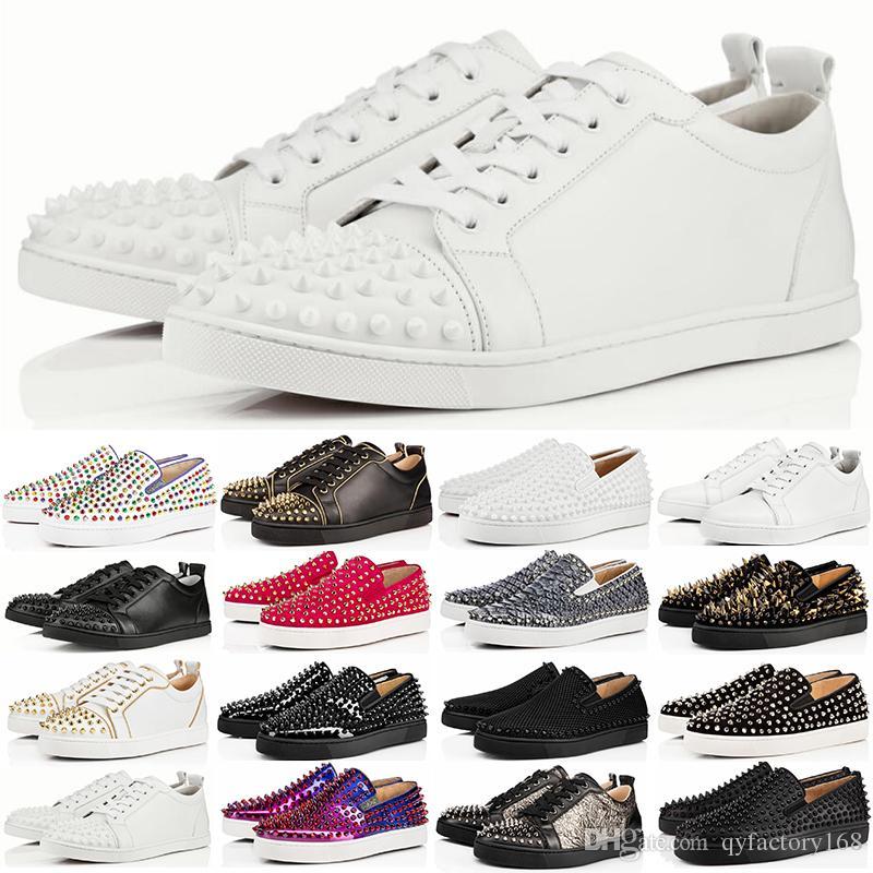 Christian Louboutin 2019 Tasarımcı Sneakers Kırmızı Alt ayakkabı Düşük Kesim Süet spike Erkekler ve Kadınlar Için Lüks Ayakkabı Ayakkabı Parti D ...