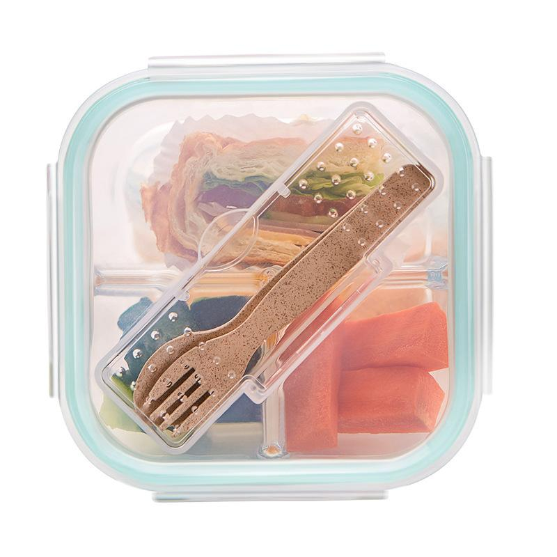 1/2/3 Grid Lunch Box Glass Microwave Leakproof Bento Box Food Storage Box school food containers with compartments for Student C18112301
