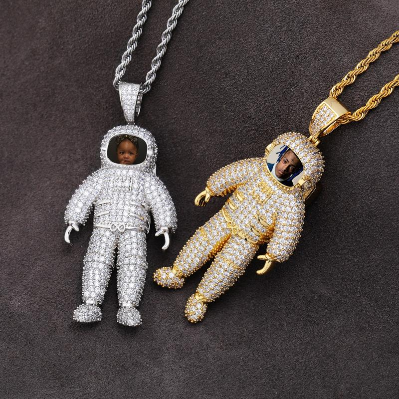 Astronaut Astronaut Memory Photo Solid Pendant Full Of Zircon Hip Hop Personality Necklace Jewellery Ornaments