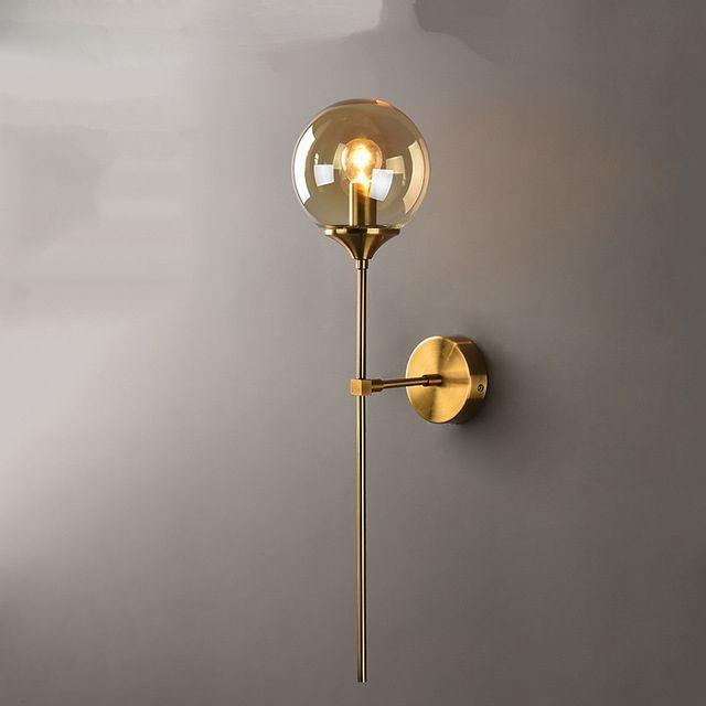 Moderno E14 Lampada da parete in vetro GOLD LED Parelle Apparecchi per la casa Decor Camera da letto Luci Specchio per il bagno Nordic Luminaire per interni