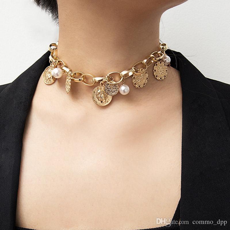 Kadınlar Için Vintage Bohemian Gerdanlık kolye Sahte İnci Sikke Kabartma Kolye O şekli Altın Gümüş zincirler Moda Boho Takı Hediye