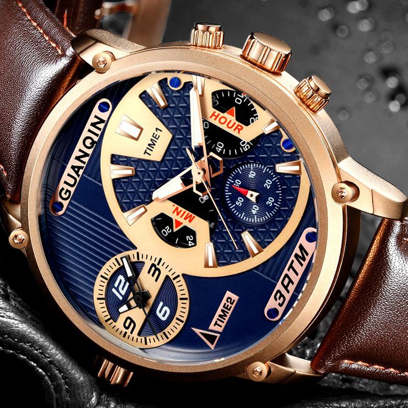 relogio masculino GUANQIN роскошные Мужские спортивные часы с несколькими часовыми поясами многофункциональные кварцевые часы классические мужские ретро кожаные наручные часы