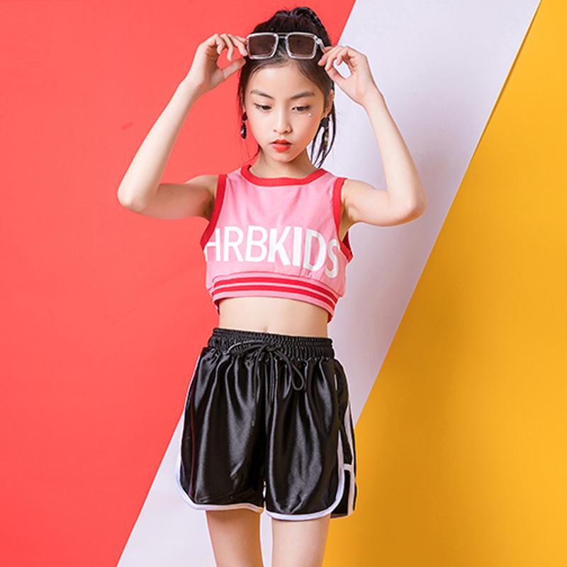 Vestido hip hop girls jazz costume rosa gilet nero pantalone palcoscenico strada indossare sexy danza abbigliamento bambini ropa hip hop vestiti BL2013