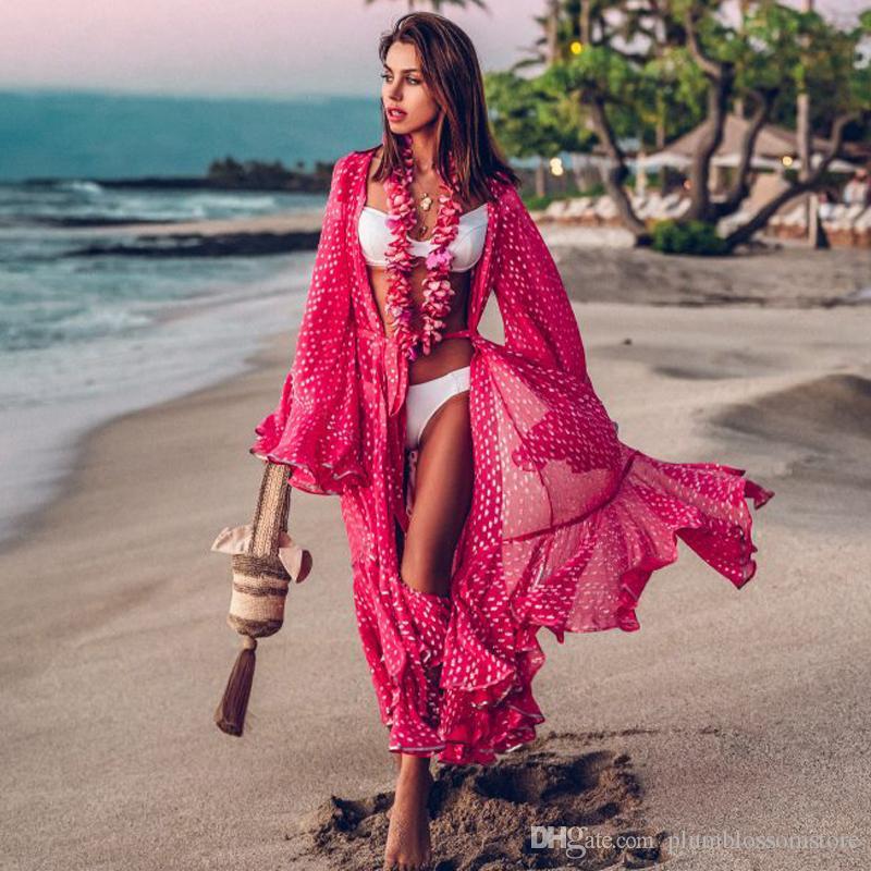 2020 Women Bikini Cover-ups Swimwear Bohemian Dot Printed Flare Sleeve Ruffed Summer Beach Cardigan Dress Chiffon Tunic Swimsuit Cover Up