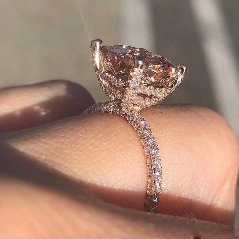 Luxury Big Champagne Zircon Finger Rings For Women Unique Three-sides Crystal Rose Gold Wedding Engagement Luxury Jewelry Ring Accessories