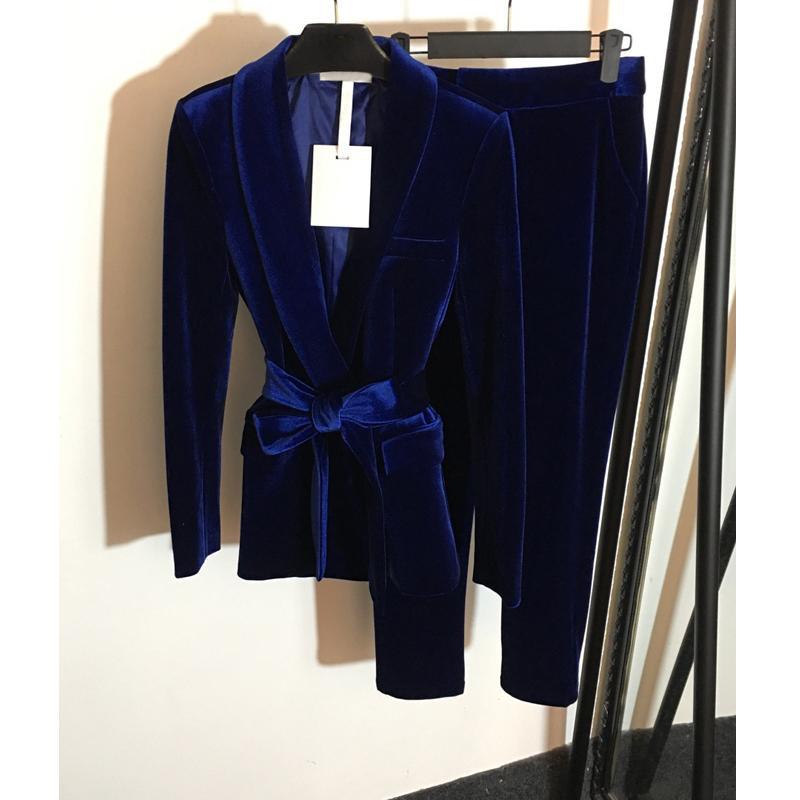6,1 temperamento delgado Set Velvet V-cuello de manga larga Blazer capa + pantalones sólidos Dos conjuntos pieza con cinturón