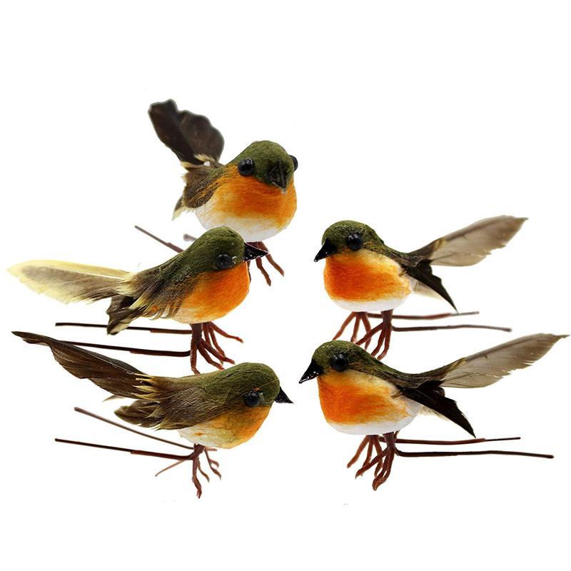 10PCS Robin Oiseau Arbre Artisanat Décoration de Noël très mignon Plantes d'oiseaux de plumes artificielles Décor bricolage Artisanat Décoration