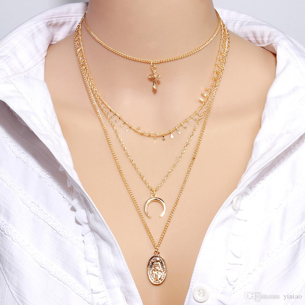 Wholesale 2019 There Layer Gold Chain Crystal Pendant Necklace Trendy Moon Cross People Necklace Fashion Jewelry For Women Girl Party Girl Accessories Key Necklace Bar Pendant Necklace From Yiniao 1 6 Dhgate Com