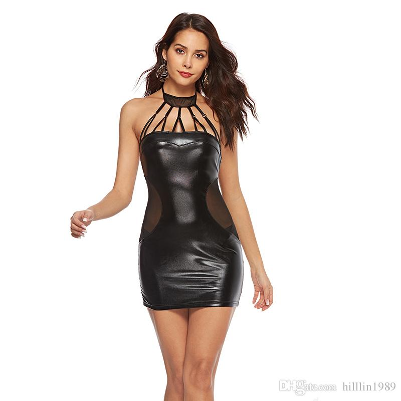 Plus Size PVC Clubwear Large Size Party Dresses for Women 50% Sexy Halter Faux Leather Night Club Bodycon Dress