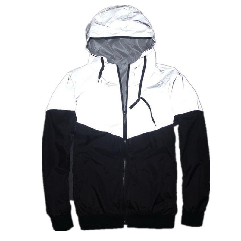 New Full Reflective Jacket Men Women Harajuku Windbreaker Jackets Hooded Hip-Hop Streetwear Night Shiny Zipper Coats Jacke Size S-4XL