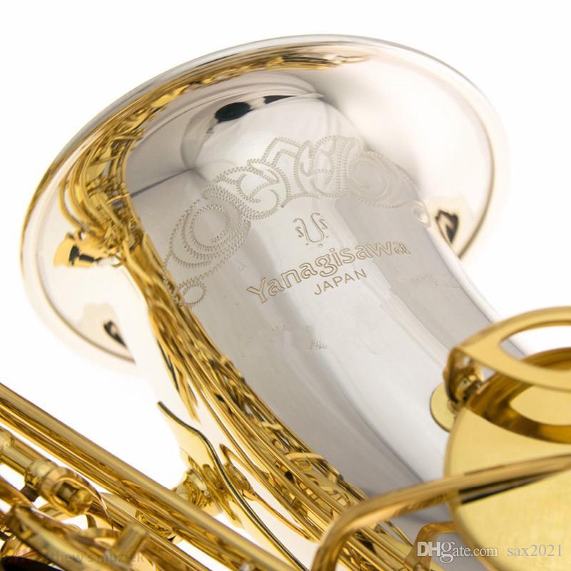 Giappone Yanagisawa Wo37 Alto e-flat Saxophone Strumenti musicali EB Silver Gold Key Placcato SAXTOFONE ALTO SAXOFONO PROFESSIONAL LEVELLO GRATIS