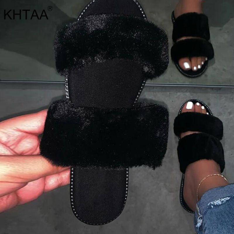 di estate delle donne sexy pantofole in pelliccia peluche leopardo signore Appartamenti Donne diapositive informale all'aperto comoda molle scarpe femminili della donna 2020