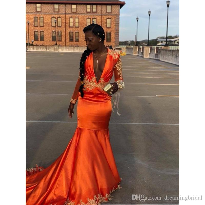 a874ead7d0 Orange Long Sleeve Mermaid Prom Dresses 2019 New Sweep Strain Lace Appliuqe  Deep V Neck Formal Evening Dress Party Gowns Plus Size Prom Dresses With ...