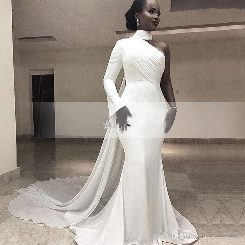 Vintage White Mermaid Prom Dresses 2019 Floor Length One Shoulder Long Sleeves High Neck Satin Chiffon Women Formal Evening Gowns Vestidos