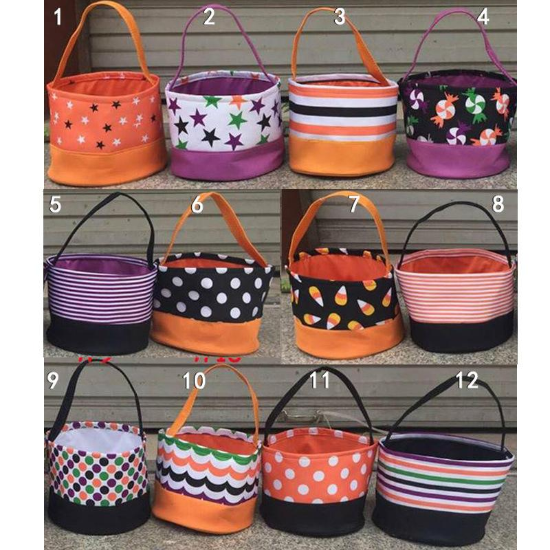 Halloween Basket Bags DIY polka dot Cesto di immagazzinaggio Cesto Mettere caramelle Uova Sacchi di immagazzinaggio sacchi di juta Cestino da scrivania KKA7120