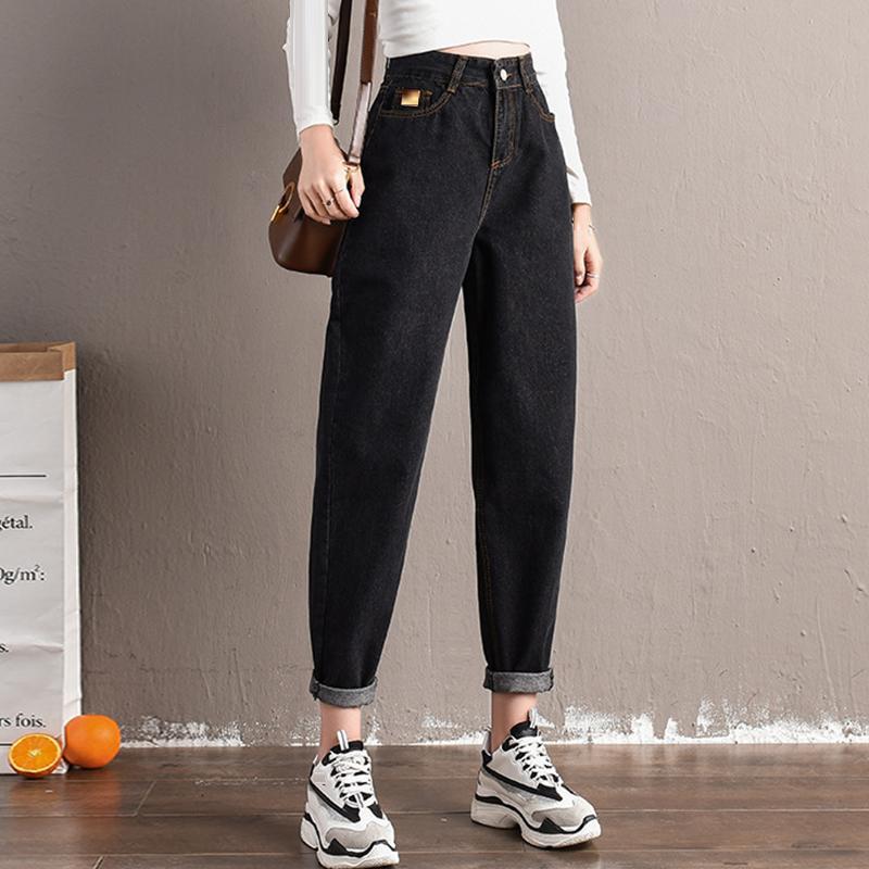 Женские джинсы Весна для женщин Корейский мода Повседневная прилив Высокая талия плюс Размер Женская Мама Свободные Дикие Гарм Брюки