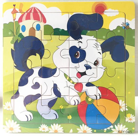 16 개의 나무 퍼즐 유치원 아기 장난감을 자녀의 동물 나무 3D 퍼즐이 빌딩 블록을 재미있는 게임 교육 장난감 C5351