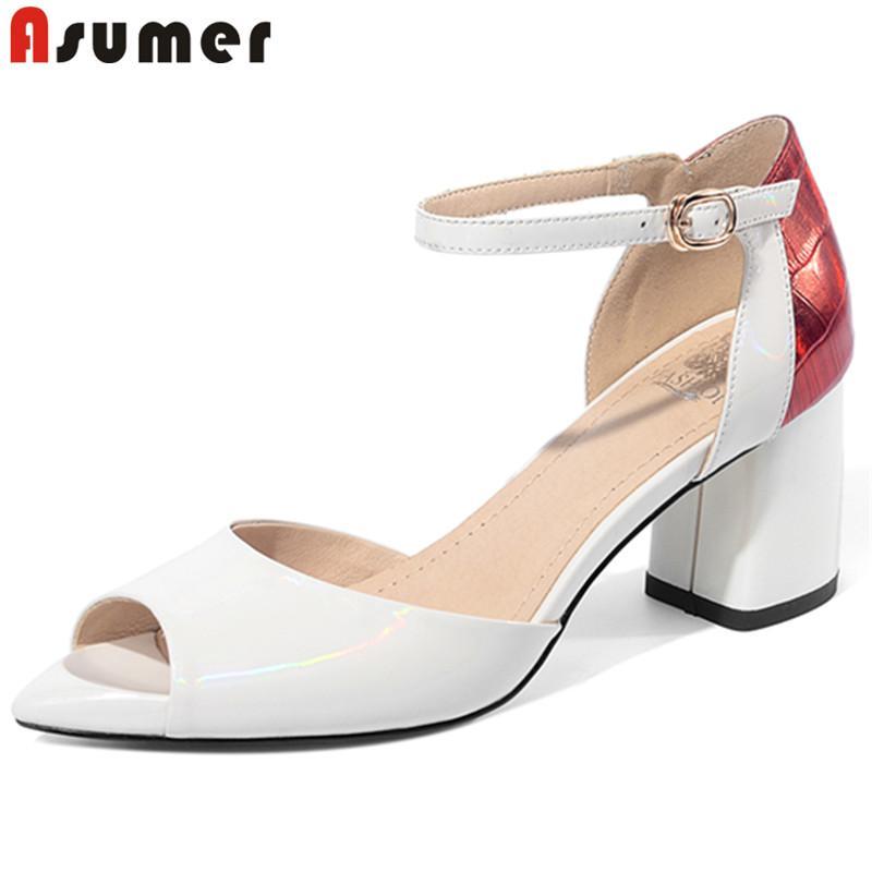 ASUMER 2020 mais novas mulheres de couro de patente sandálias mistos sapatos de salto alto verão cores fivela simples mulher sapatos elegante