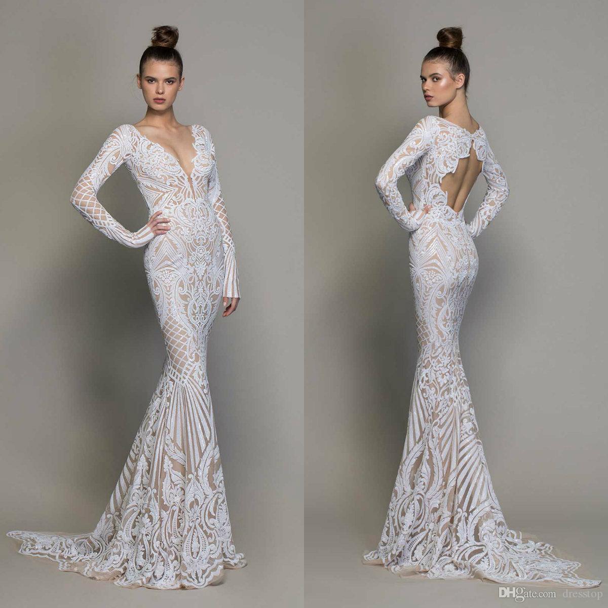 High Fashion Mermaid Wedding Dresses Long Sleeves Illusion Lace Sexy Vestido De Novia Pnina Tornai 2020 Open Back Beach Wedding Gowns