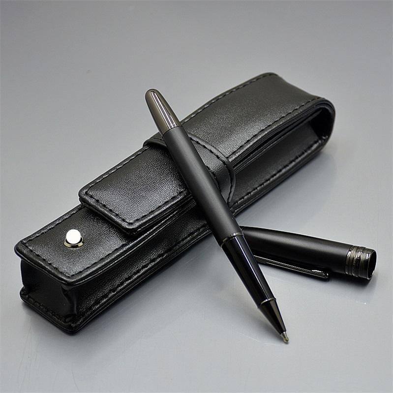 Vente chaude Haute Qualité MSK-163 Matte Noir Stylo à bille Noir Stylo-stylo Stylo de goulière Fournitures de bureau d'école avec numéro de série et emballage de boîtes en cuir