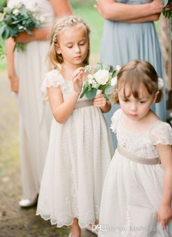 Vintage Dantel Ucuz Çiçek Kız Elbise Cap Kollu A Hattı Geri Ayak bileği Uzunluğu Güzel Kızlar Yarışması Elbise Ucuz Satış Zip