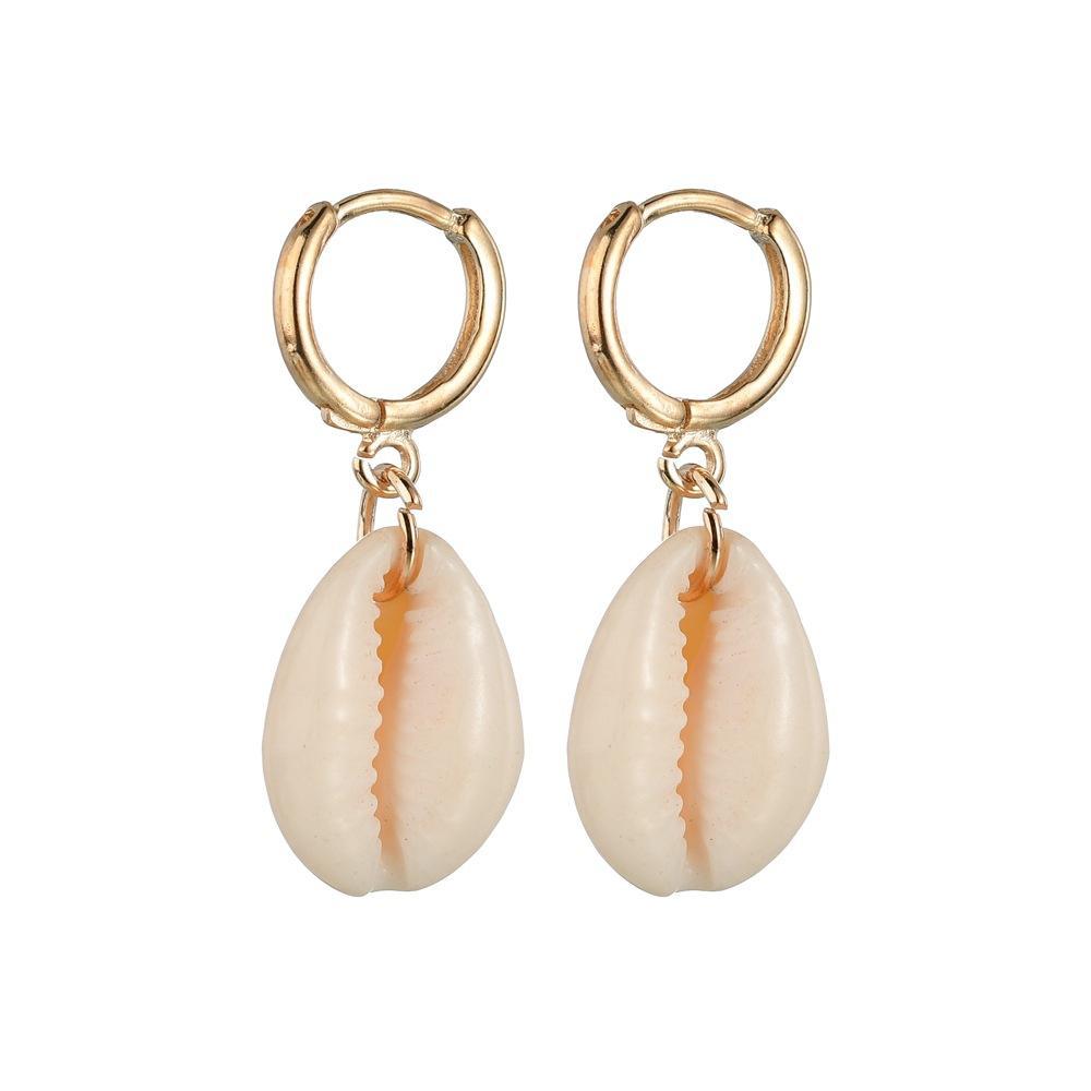 빈티지 보헤미안 스타일 셸 드롭 귀걸이 한국어 패션 여름 금 은색 후프 쉘 얽힌 귀걸이 휴가 해변 여성 보석