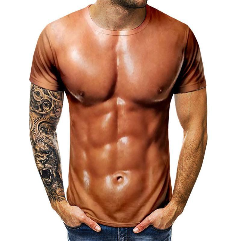 Lustige 3D-Muskel-T-Shirt Sommer-Fälschungs-Muskel-Short Sleeve Fitness T-Shirt Cool Tops 3D-Druck Street Lustige Körper-T-Shirt