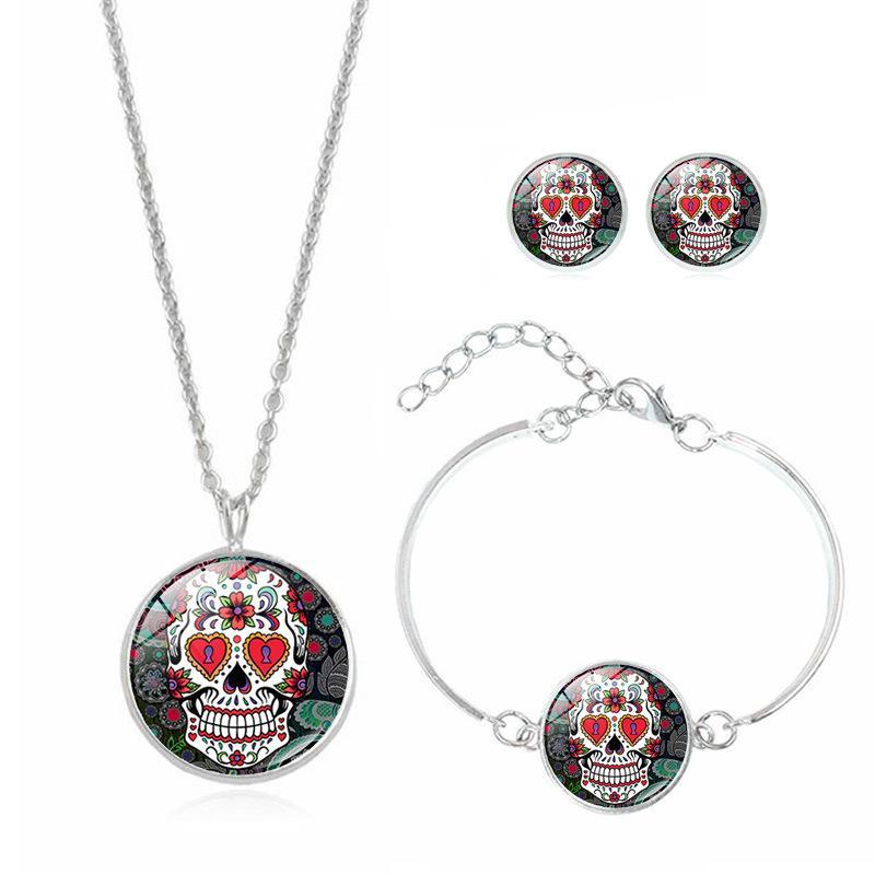 Messicano cranio dello zucchero insiemi dei monili per gli uomini delle donne fiore braccialetto collana di scheletro Ciondolo Orecchini Giorno degli accessori delle vacanze Morto
