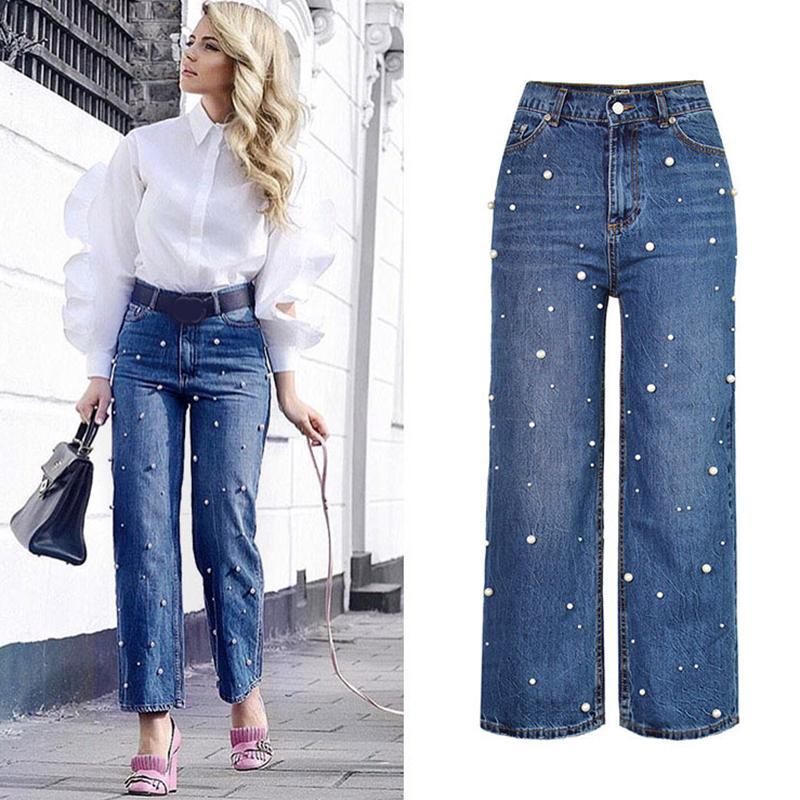 Le donne Plus Size Jeans a vita alta MOM perline gamba larga denim dei pantaloni delle donne casuali allentate Streetwear cotone Denim Jeans