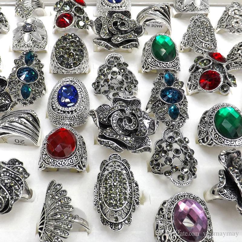 50PCS 바로크 스타일 빈티지 모조 다이아몬드 반지 꽃 깃털 디자인