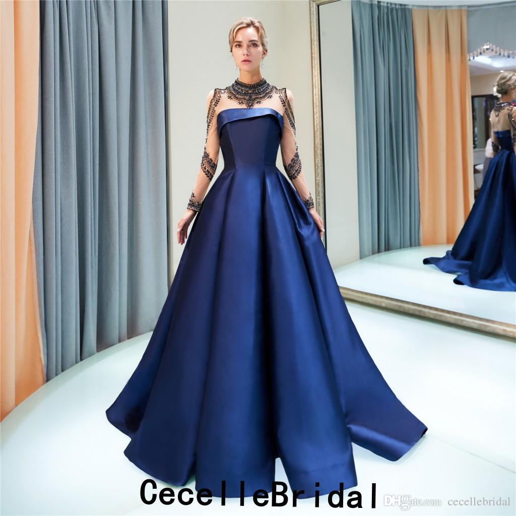 Acheter 2019 New Royal Blue A Line Satin Longue Robe De Soirée Avec Manches  Longues Perler Top Train Court Femmes Soirée Formelle Robe Tapis Rouge De