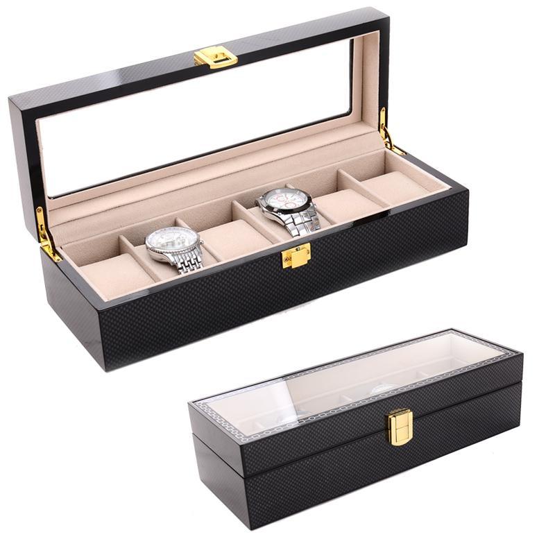 2019 Caja de reloj para 6 nuevas rejillas y caja de gafas con 3 rejillas Caja de reloj Caja para horas Caja para horas Horario