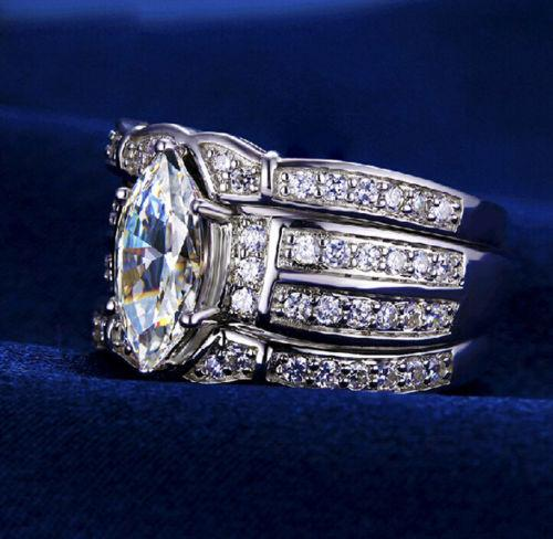 Wholesale- Retro Jewelry 14kt white gold filled topaz Pear cut Simulated Diamond Women Wedding Ring set (3in 1) gift with box