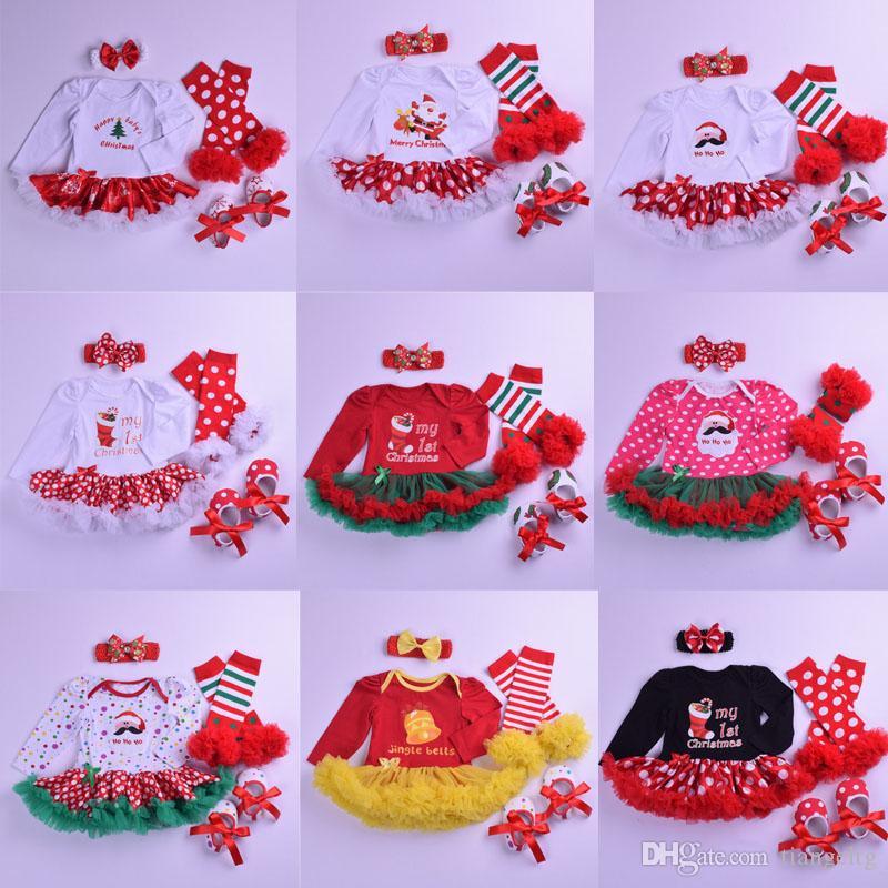 Filles Vêtements de Noël Sets 21 couleurs Cartoon Stripe Dot Imprimé Jumpsuit Bow Chaussures à lacets Jupe bandeau jambière 4pcs Tenues 0-2T 04