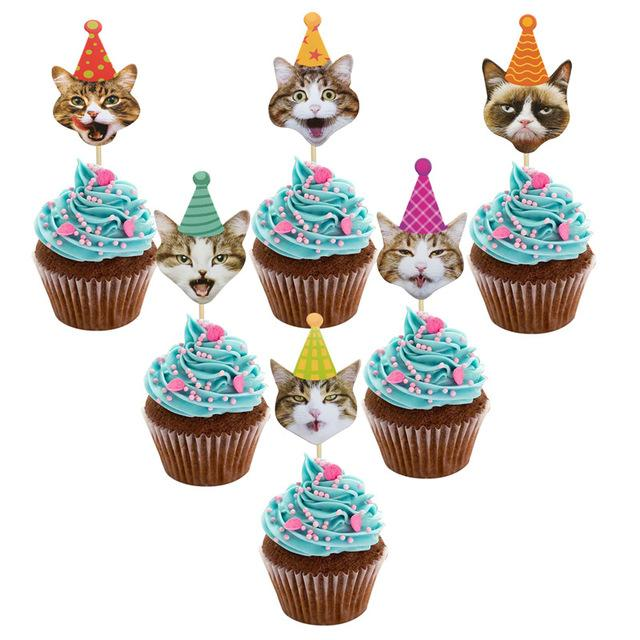 ome & Garden 24Pcs Cute Pet Cats Paper Cupcake Topper Banner Cat Pet Party Decoration For Home Baby Shower Happy Birthday Decoration Supp...