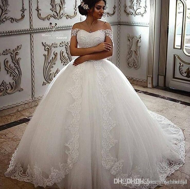Lace Ball Gown Wedding Dresses Off The Shoulder Floor Length Applique Lace Up Sleeveless Bridal Dress Wedding Gowns Custom Made