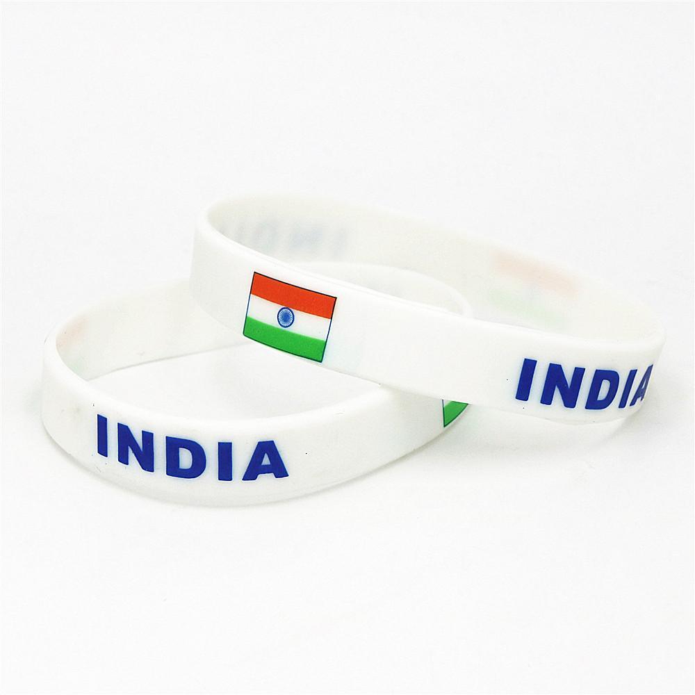 1PC India Flag Silicone Wristband Football Soccer Team Fans Sport Elastic Rubber Bracelet Bangles 2018 Armband SH228