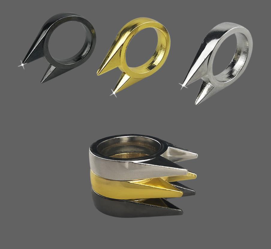 Gatto orecchio anello di autodifesa anello in acciaio inox Sopravvivenza di sicurezza EDC strumento difensivo anello difensivo per donne uomini carino gattino all'ingrosso