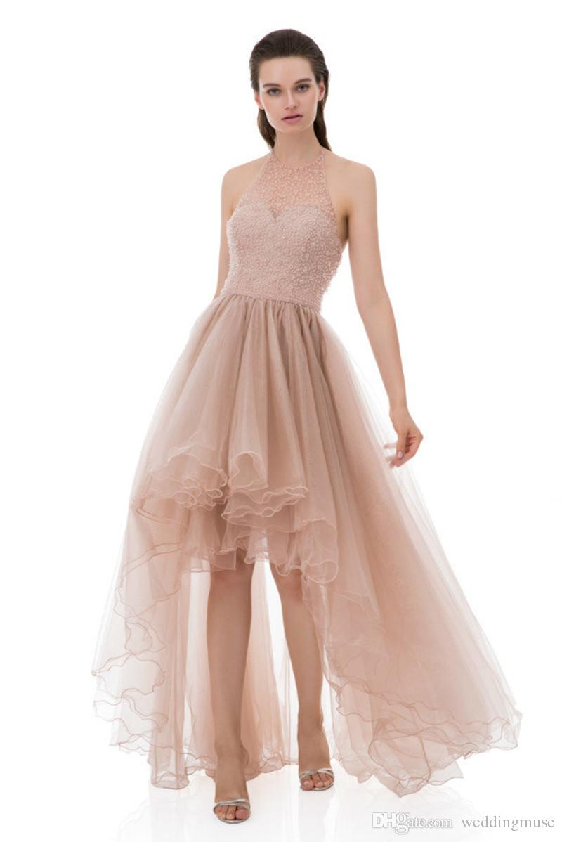 Sexy Blush High Low Prom Dresses Halter Sleeveless A Line Appliques Lace Beaded Ruffles Tulle Formal Evening Party Dress Vestidos De Baile Tie Dye