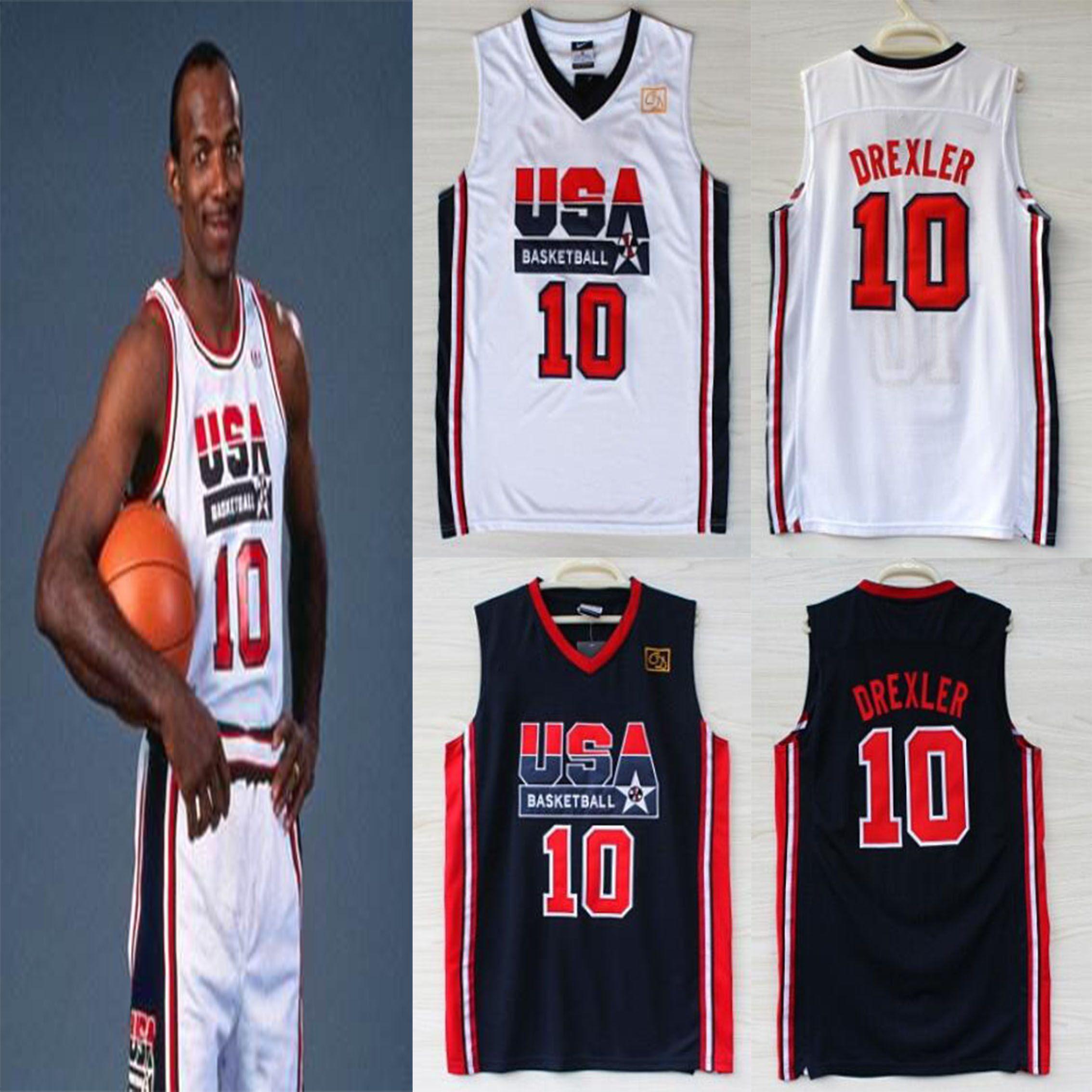 1992 EE.UU. equipo de Estados Unidos Juegos Olímpicos Sueño #Clyde Drexler 10 jerseys del baloncesto camiseta de baloncesto de tamaño S-XXL de la caída