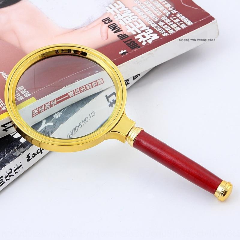 ktSFe Гао Цин 10 раз старого чтения портативного увеличитель 10 времени высокого зеленое зеркало ювелирных изделия нефрит идентификация 80ммы имитация Redwood ручка