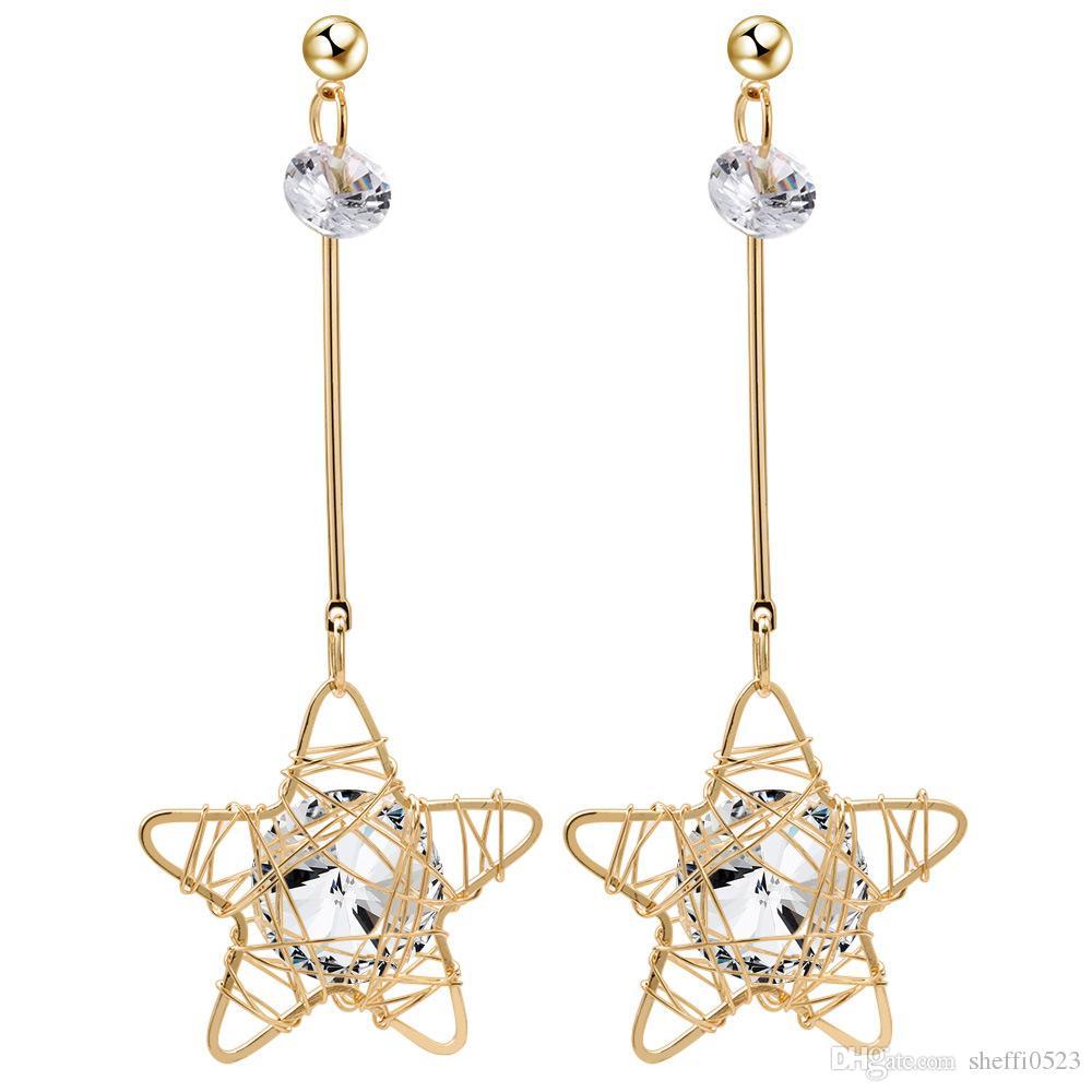 Выдалбливают высококачественные серьги с подвесками из циркона темперамент Личность серьги-гвоздики в форме звезды для женщин 8170