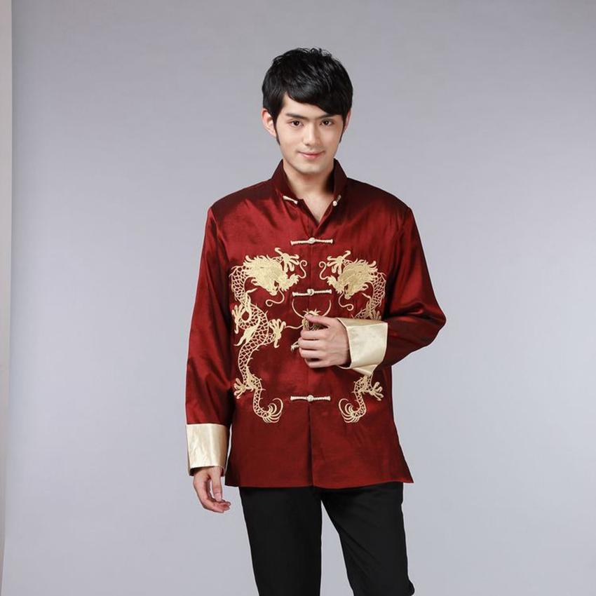 8 color de la camisa china tradicional ropa china por hombres de la manga del traje Hombres juego de la espiga del dragón de raso largo