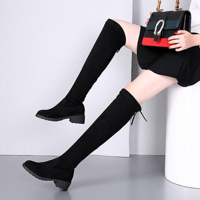 2019 Over The Knie Stiefel Winter Heiße Neue Stil Stretch Lange Schuhe Frau Elastische Stiefel Plattform Schuhe Weiblichen Quadratischen Ferse