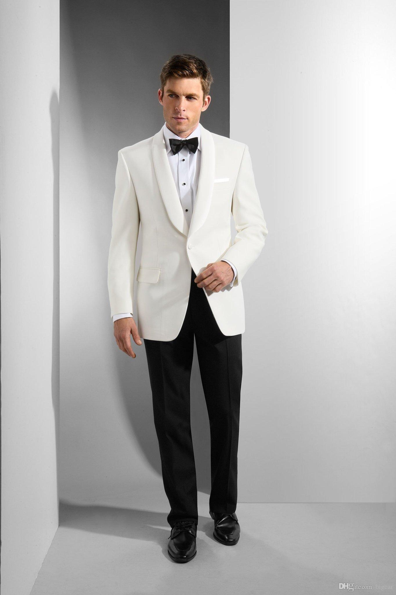 Esmoquin de boda para el novio Padrinos de boda con solapa chal Marfil Chaqueta Blazer Pantalones negros para hombres Cena formal Ocasiones de fiesta Trajes de fiesta por encargo