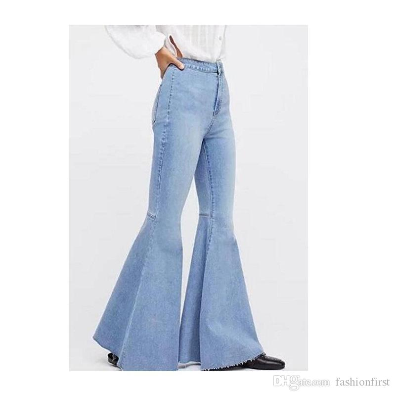 2019 new jean for women pants large size flared jeans Wide Leg Ultra Stretch Jeans Bell Bottom Jeans Mid Rise 90s Stretch Denim